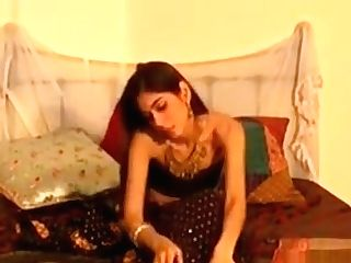 Skinny Indian In Britain Stripteasing